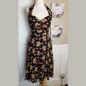 Hersey Johnson Vtg butterfly halter dress